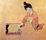 Beauty Playing Chess - silk painting