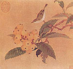 Loquats and Sparrow, Chinese painting, Song Dynasty