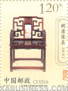 Rosewood embedded marble armchair (Qing Dynasty)